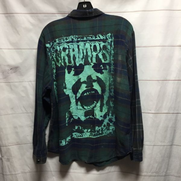 product details: THE CRAMPS LONG SLEEVE FLANNEL HAND SCREEN PRINTED *LOCAL ARTIST - AS IS photo