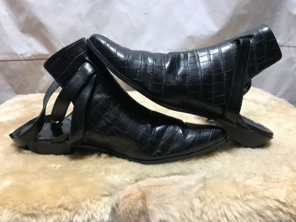 product details: CROC EMBOSSED WRAP AROUND BUCKLED BOOTIES - AS IS photo