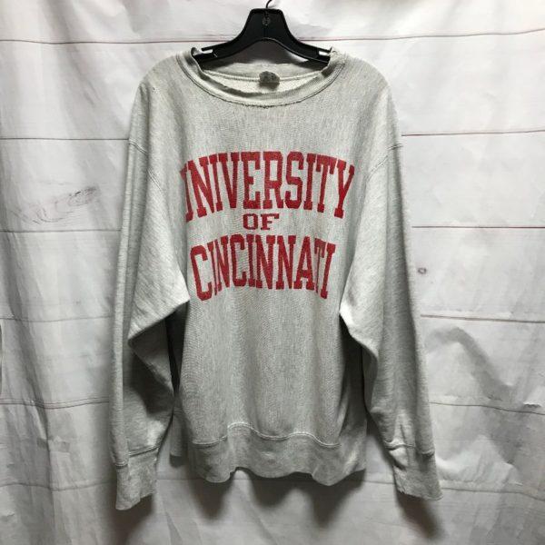 product details: UNIVERSITY OF CINCINNATI, OHIO SCHOOL SWEATSHIRT WITH DISTRESSED CREWNECK photo
