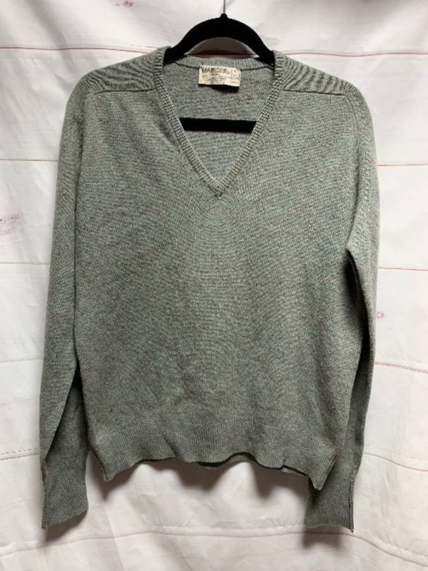 product details: RETRO 100% LAMBSWOOL PULLOVER SWEATER SLIGHT V-NECK photo