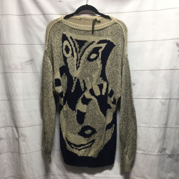 product details: 1990S KNITTED COTTON OVERSIZED SWEATER WITH FUNKY ABSTRACT DESIGN MADE IN ITALY photo