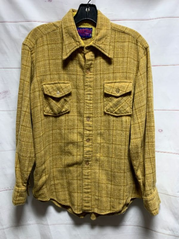 product details: RETRO 1970S WOOL LS BD FLANNEL WITH CUTE FUNKY ELBOW PATCH photo