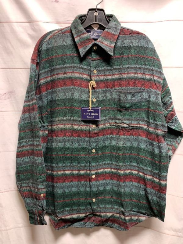 product details: DEADSTOCK STRIPED WOVEN BUTTON UP SHIRT AS-IS photo