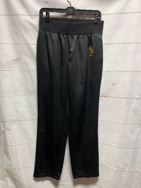 product details: SILK JOGGERS GOLD \G\ EMBROIDERY ELASTIC WAIST photo