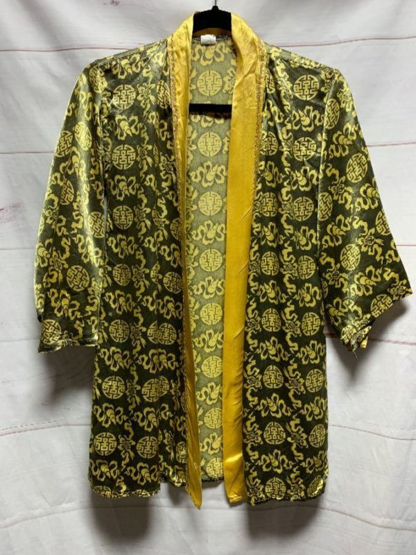 product details: 1960S FUNKY PRINTED CROPPED ROBE / KIMONO SILKY RAYON AS-IS photo
