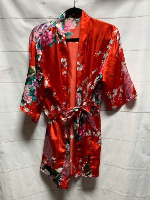 product details: FLORAL PRINT SILKY ROBE / KIMONO AS-IS photo