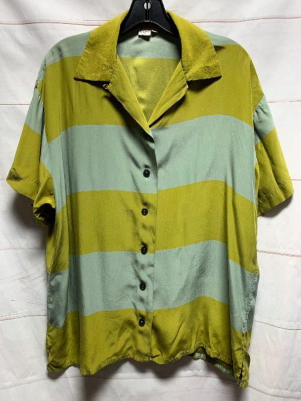 product details: STRIPED SILK COLOR BLOCK SHIRT AS-IS photo