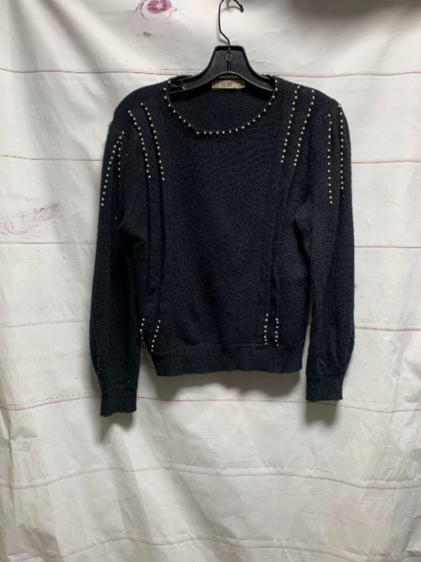 product details: RETRO PEARL STUDDED LAMBSWOOL SWEATER PLEATED DETAIL AS-IS photo