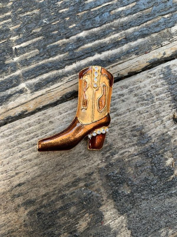 product details: ENAMELED COWBOY BOOT BROOCH PIN WITH RHINESTONES photo