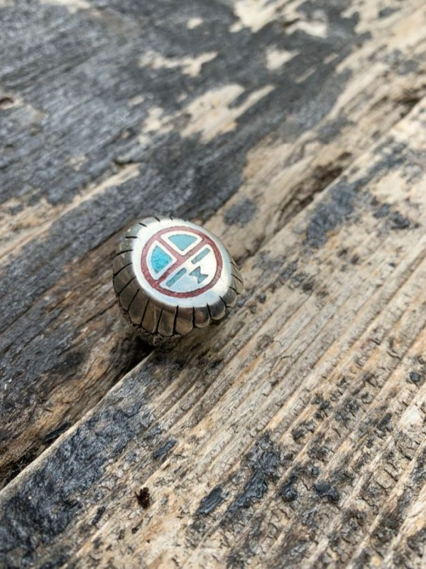 product details: ZUNI SUN GOD SYMBOL CRUSHED TURQUOISE & CORAL INLAY MOTORCYCLE BIKER RING photo