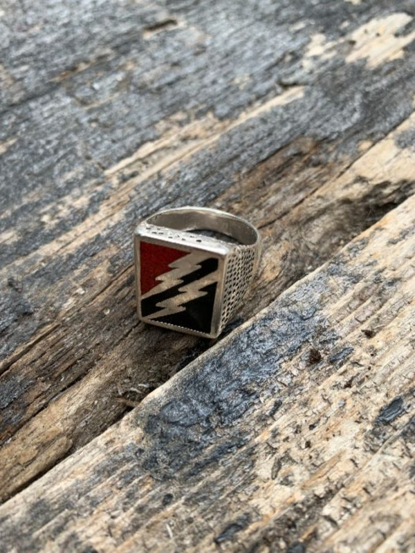 product details: DOUBLE LIGHTNING CRUSHED CORAL & ONXY STONE INLAY MOTORCYCLE BIKER RING photo
