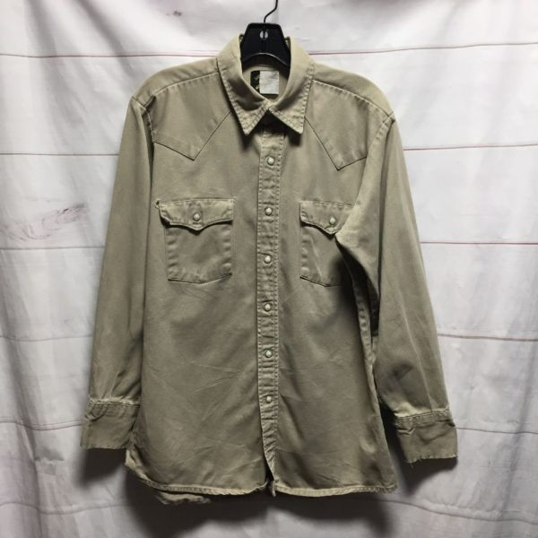 product details: CLASSIC KHAKI WESTERN LONG SLEEVE BUTTON UP SHIRT PEARL SNAP BUTTONS  - AS IS photo