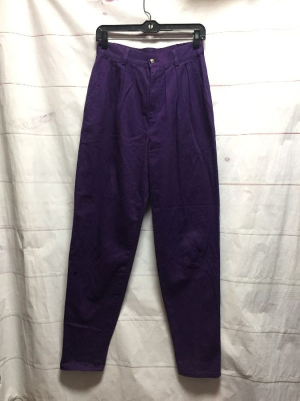 product details: HIGH WAISTED PURPLE PLEATED TROUSERS TAPERED LEG photo