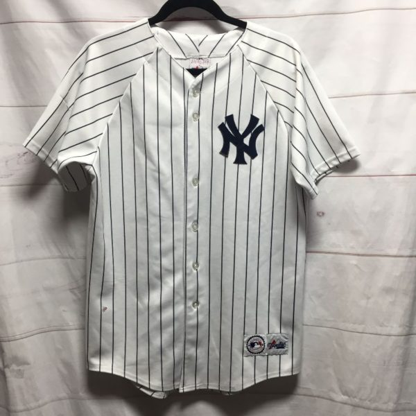 product details: NEW YORK YANKEES PINSTRIPE  BASEBALL JERSEY - AS IS photo
