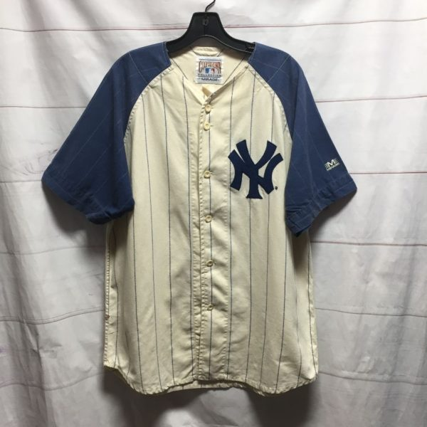 product details: ORIGINAL TWO-TONED NEW YORK YANKEES PIN STRIPED COTTON BASEBALL JERSEY photo