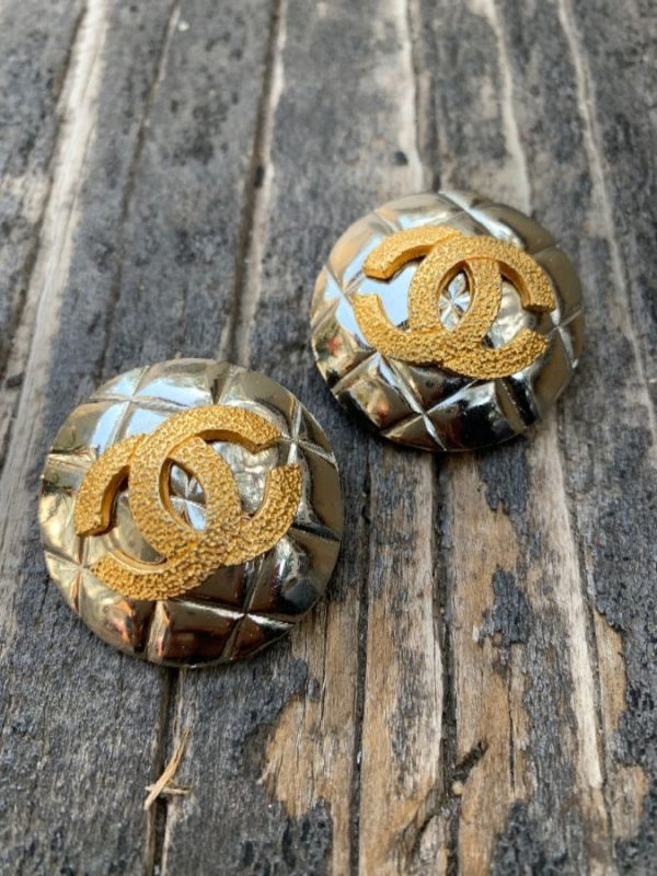 product details: QUILTED TWO TONE DOUBLE CC CLIP EARRINGS photo