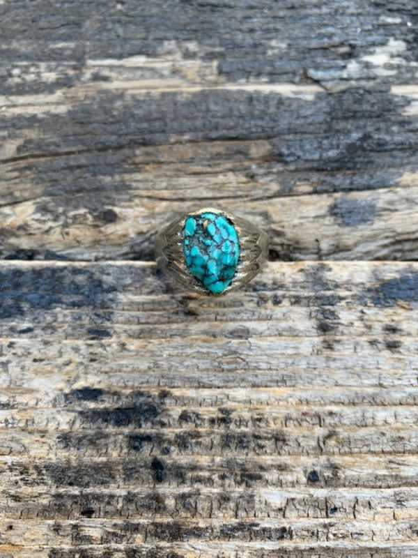 product details: TURQUOISE NUGGET RING CARVED STAR SETTING photo