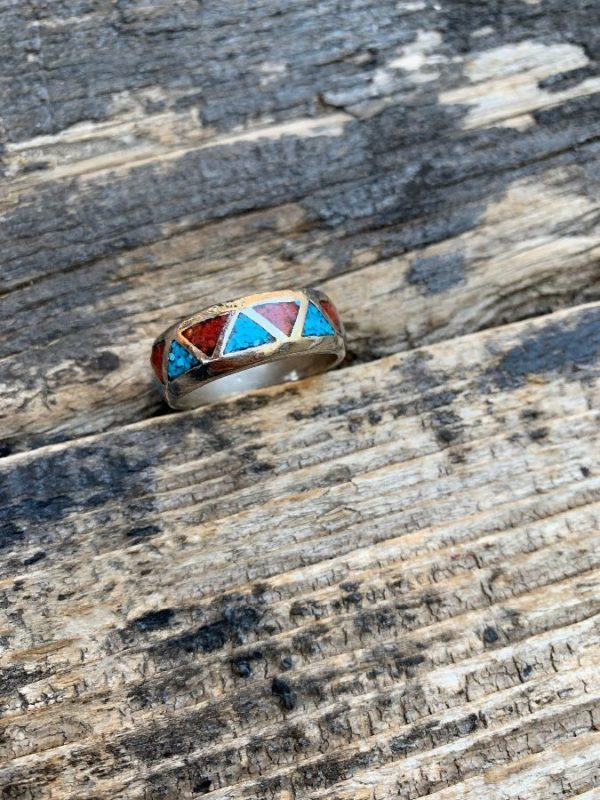 product details: STAINLESS STEEL CRUSHED TURQUOISE & CORAL RING BAND photo