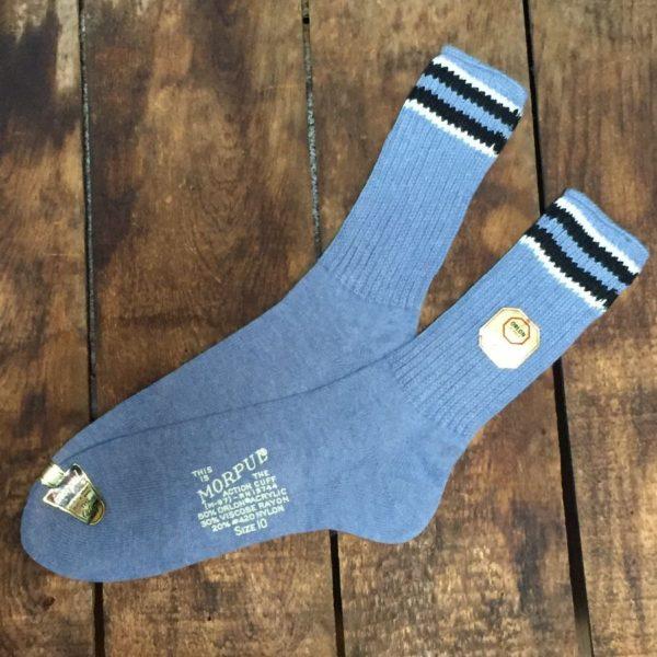 product details: VINTAGE DEADSTOCK SOCKS - KNITTED ORLON STRIPED SOCKS photo