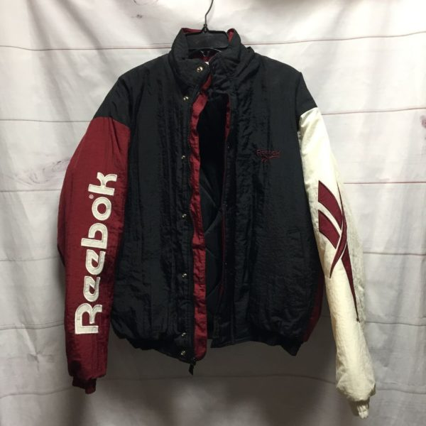 product details: 1990S RAD TRI-TONE EMBROIDERED PUFFY REEBOK WINDBREAKER QUILTED LINING photo