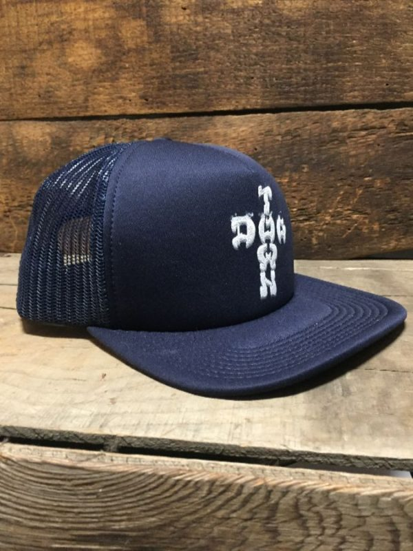 product details: DOG TOWN SKATEBOARDS HAND PRINTED MESH TRUCKER HAT photo