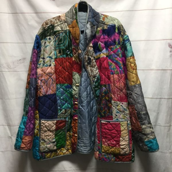product details: SILK PUFFY PATCHWORK JACKET WOOD TOGGLE BUTTONS - AS IS photo