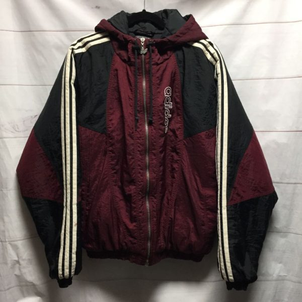 product details: CLASSIC 1990S HOODED ADIDAS PUFFY NYLON JACKET EMBROIDERED LOGO photo