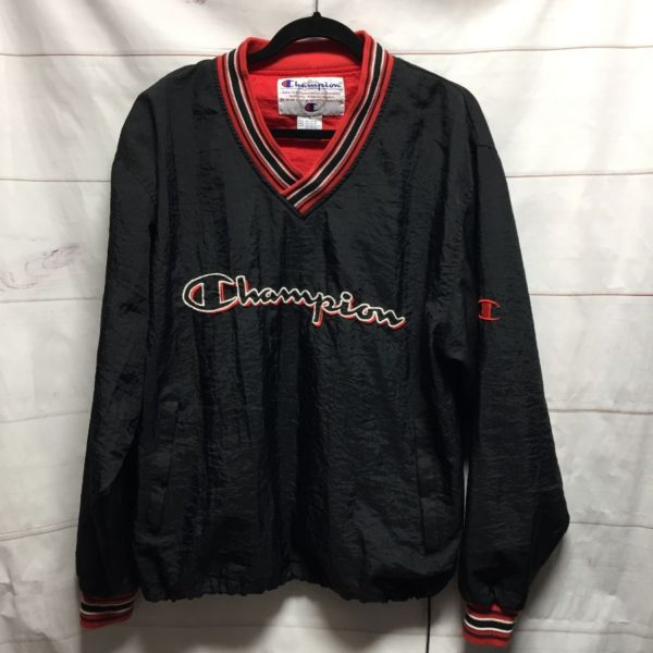 product details: 1990S PULLOVER CHAMPION NYLON JACKET EMBROIDERED LOGO STRIPED V-NECK & CUFFS ADJUSTABLE BOTTOM photo