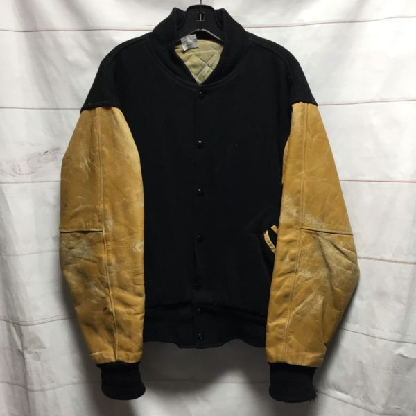 product details: MEDIUM FIT LEATHER AND WOOL VARSITY JACKET AS-IS photo
