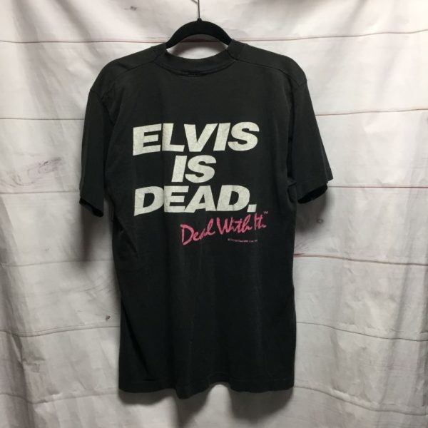 product details: RAD & RARE SUPER DISTRESSED ELVIS IS DEAD DEAL WITH IT T SHIRT - AS IS photo