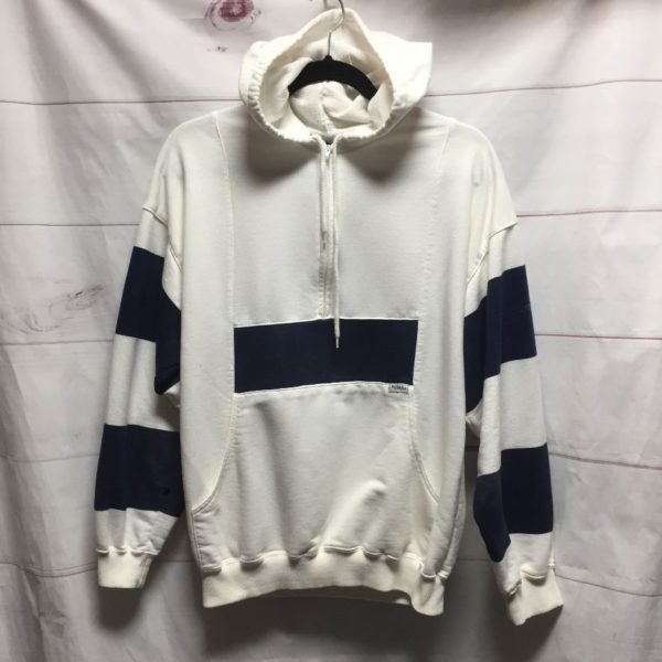 product details: VINTAGE 1990S PUMA BRAND HOODED SWEATSHIRT HALF ZIP WITH STRIPED SLEEVES - AS IS photo