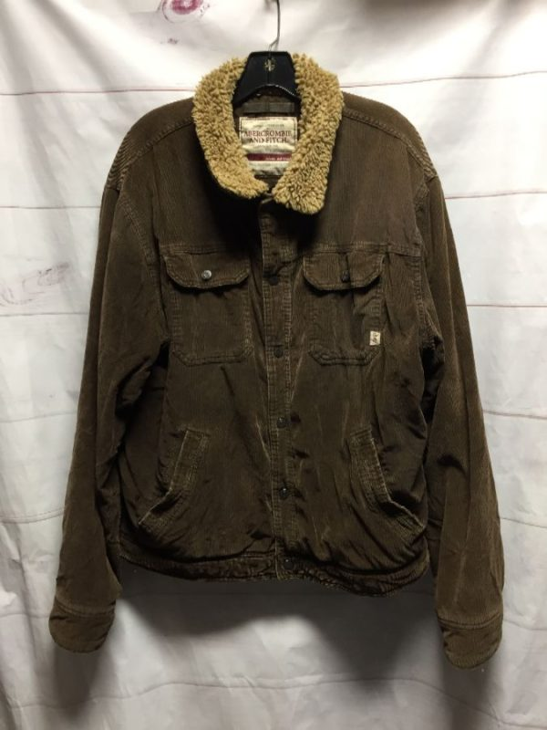 product details: CORDUROY SHERPA LINED JACKET FUN INTERIOR ZIP POCKET photo