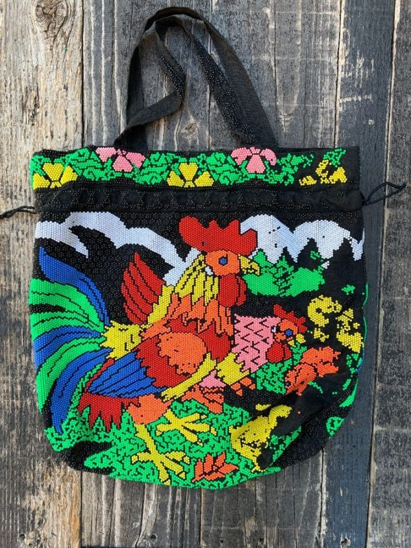 product details: VINTAGE FULLY BEADED ROOSTER TOTE BAG AS-IS photo