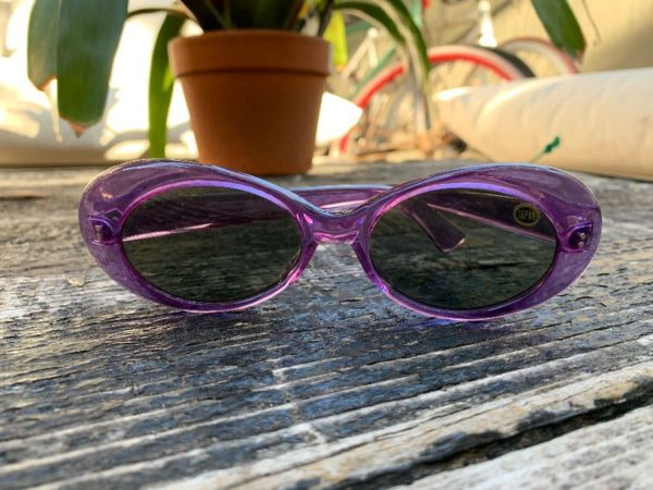 product details: DEADSTOCK TRANSLUCENT PURPLE FRAME OVAL SHAPED SUNGLASSES MADE IN JAPAN photo