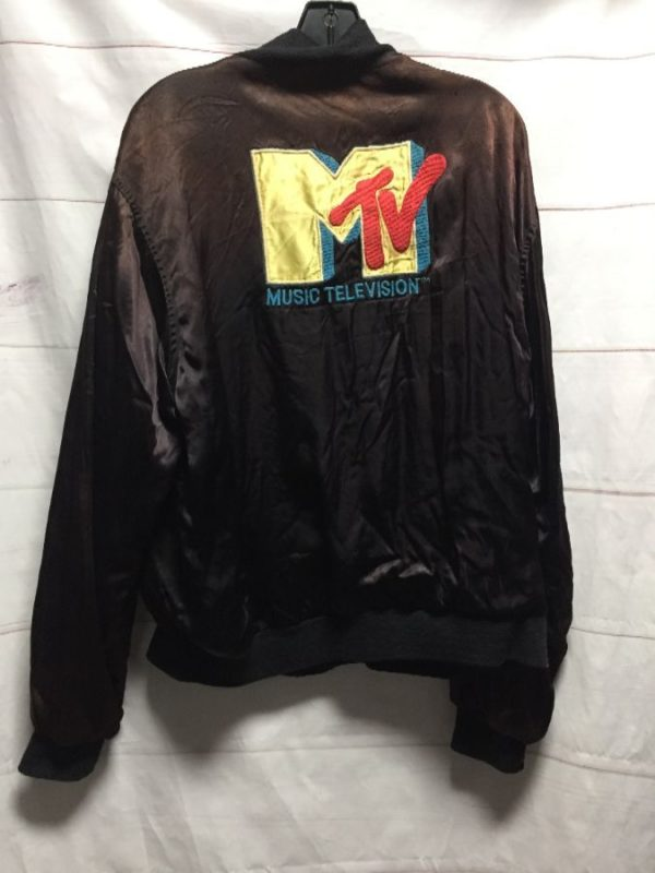 product details: EMBROIDERED MTV SATIN ACETATE CREW JACKET FULLY LINED AS-IS photo