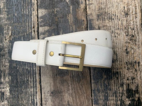 product details: CLASSIC BUTTER LEATHER BELT SQUARE BRUSHED BRASS BUCKLE photo
