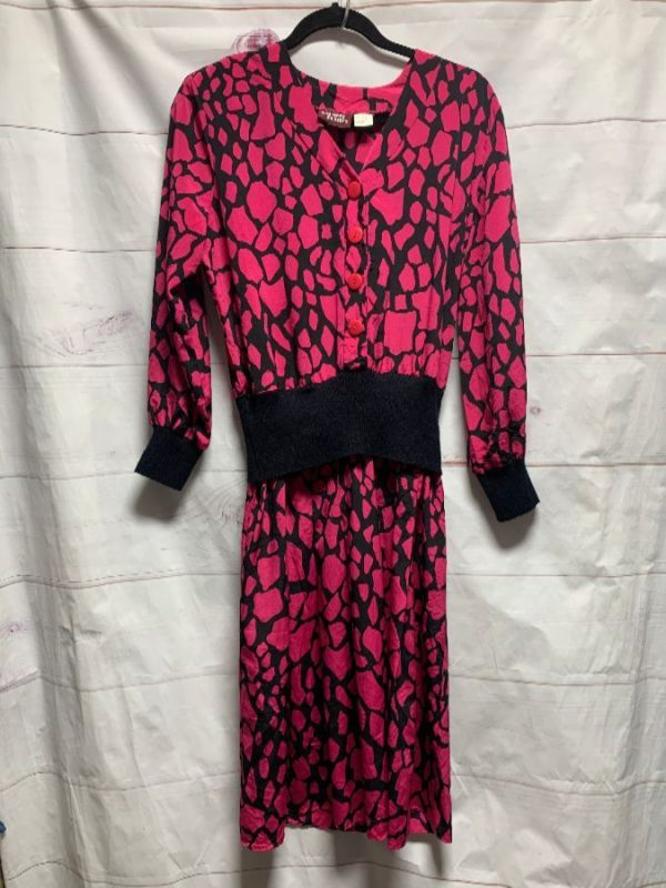 product details: 80S DRESS WIDE BAND STRETCH WAIST HOT PINK SPOT PRINT photo