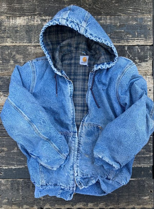 product details: CARHARTT DENIM HOODED JACKET AS-IS photo