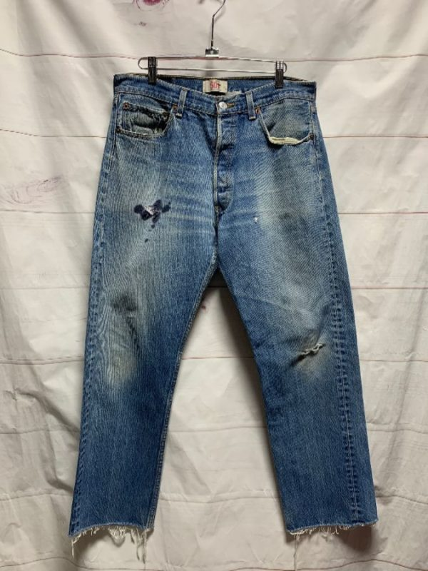 product details: LEVIS 501 DENIM JEANS DARK STAINS STRAIGHT LEG - AS IS photo