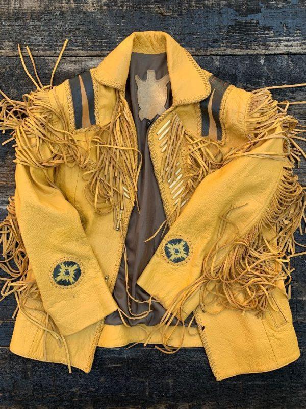 product details: HANDMADE NATIVE AMERICAN BUCKSKIN LEATHER FRINGE JACKET photo