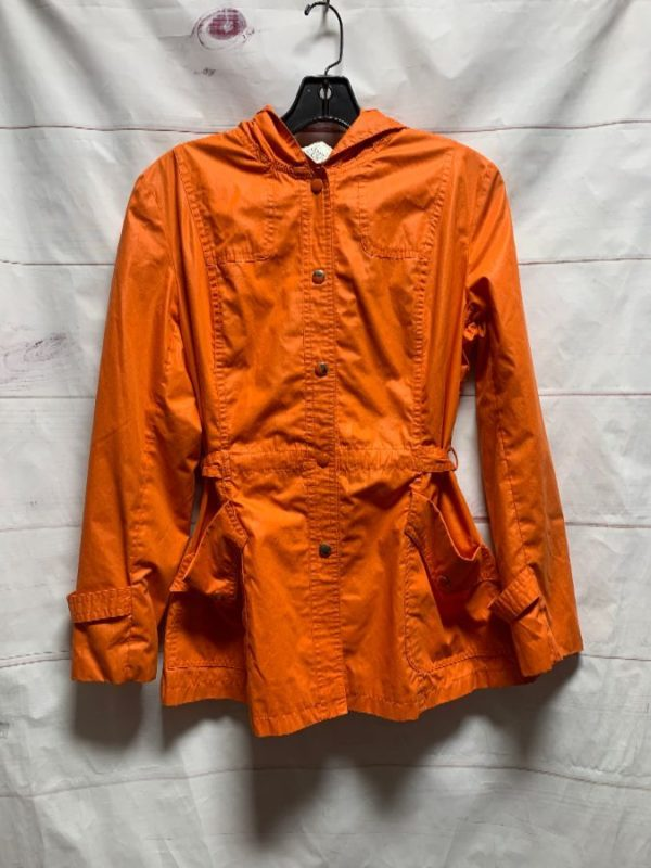 product details: RETRO BRIGHT ORANGE BUTTON UP RAIN JACKET WINDBREAKER WITH HOOD AND CINCHED WAIST photo