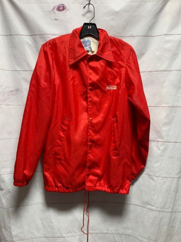 product details: FULLY LINED RETRO COCA COLA COACHES BUTTON UP JACKET photo