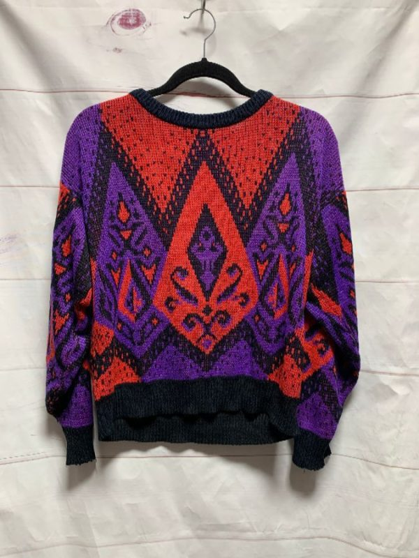 product details: DISTRESSED GEOMETRIC PULLOVER KNIT SWEATER AS-IS photo
