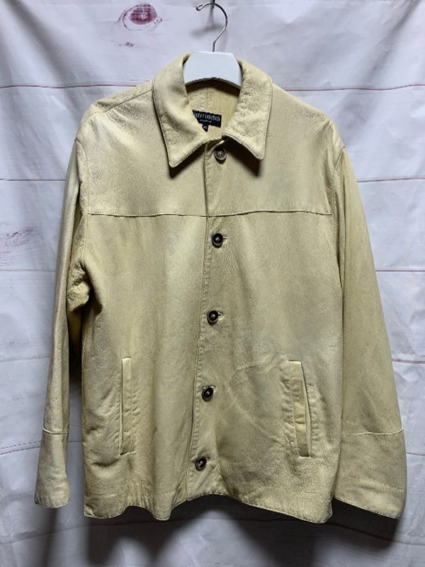 product details: BUTTERY ITALIAN BUCKSKIN LEATHER SHIRT JACKET ANTLER BUTTONS AS-IS photo