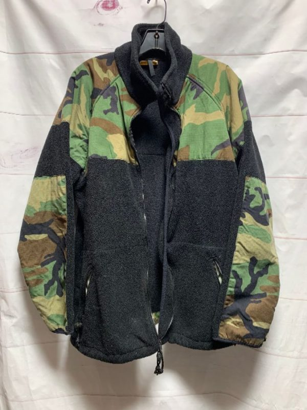 product details: RAD UTILITY MILITARY CAMO PATCHED FLEECE JACKET AS-IS photo
