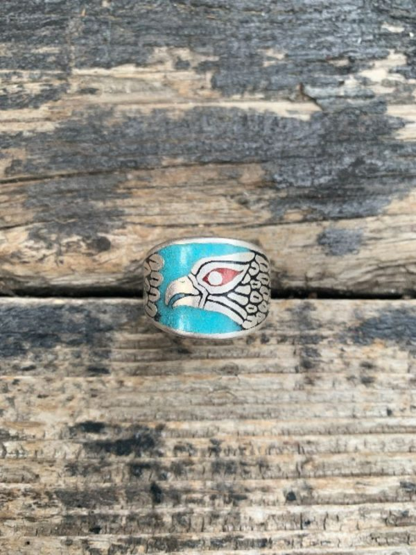 product details: EAGLE DESIGN WITH CRUSHED TURQUOISE, CORAL & ONYX INLAY MOTORCYCLE BIKER RING photo