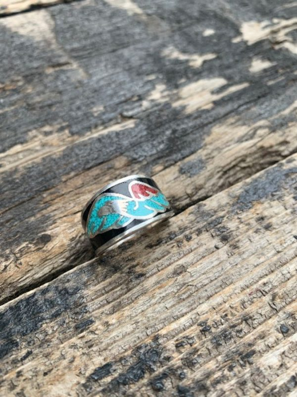 product details: SOARING EAGLE CRUSHED CORAL, TURQUOISE & ONXY MOTORCYCLE BIKER RING photo
