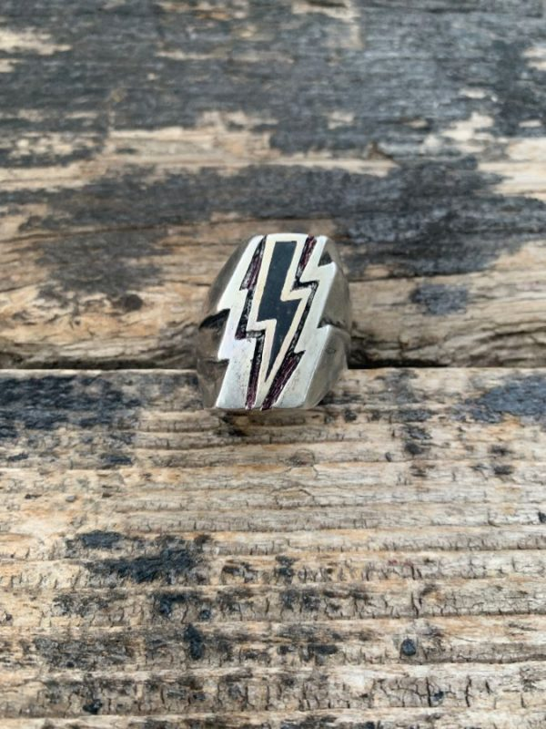 product details: LIGHTENING BOLT CRUSHED ONYX MOTORCYCLE BIKER RING photo