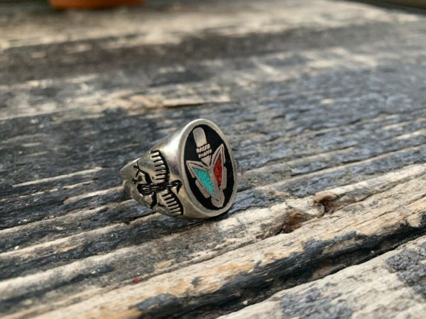 product details: ARROW HEAD CRUSHED CORAL, TURQUOISE & ONYX MOTORCYCLE BIKER RING photo