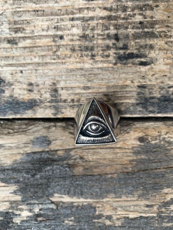 product details: ILLUMINATI ALL SEEING EYE PYRAMID STAINLESS STEEL MOTORCYCLE RING photo